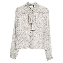 Buy Mango Bow Front Snake Print Blouse, Light Beige Online at johnlewis.com
