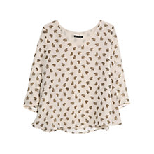 Buy Mango Butterfly Print Blouse, Natural White Online at johnlewis.com
