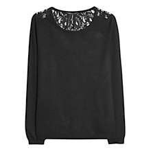 Buy Mango Blond Lace Back Sweater, Black Online at johnlewis.com