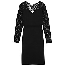 Buy Reiss Knit Lace Dress, Black Online at johnlewis.com
