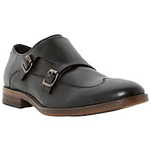 Buy Bertie Reeds Double Buckle Leather Wingtip Monk Shoes, Black Online at johnlewis.com