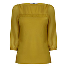 Buy Oasis Lace Trim Blouse, Lime Green Online at johnlewis.com