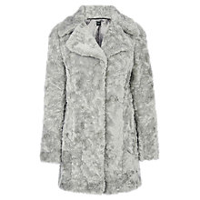 Buy Oasis Long Faux Fur Coat, Mid Grey Online at johnlewis.com