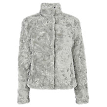 Buy Oasis Short Twisty Faux Fur Coat, Mid Grey Online at johnlewis.com