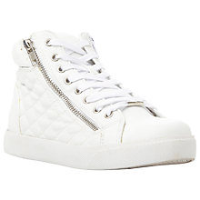 Buy Steve Madden Caffine Quilted Trainers, White Online at johnlewis.com