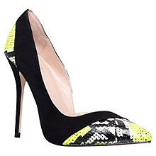 Buy Carvela Aztec Asymmetric High Heeled Court Shoe, Black/Yellow Online at johnlewis.com