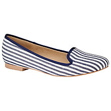 Buy John Lewis Guava Flat Heeled Slip On Loafers, Navy Stripe Online at johnlewis.com