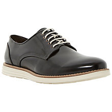 Buy Dune Bayside White Wedge Sole Polido Leather Lace Up Shoes, Black Online at johnlewis.com