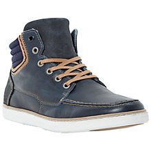 Buy Dune Sammy Leather Hi-Top Trainers, Navy Online at johnlewis.com