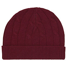 Buy Reiss Bianco Cable Knit Beanie, One Size, Red Online at johnlewis.com
