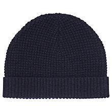 Buy Reiss Ricky Chunky Knit Beanie, One Size, Navy Online at johnlewis.com