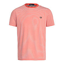 Buy Fred Perry Sharp Stripe Crew Neck T-Shirt, Tropical Red Online at johnlewis.com