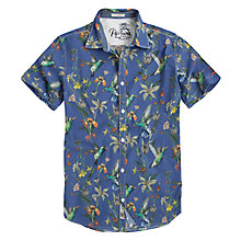 Buy Pepe Jeans Short Sleeve Bird Print Shirt, Blue Online at johnlewis.com