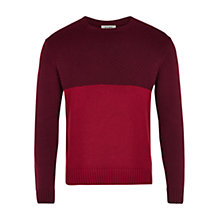 Buy HYMN Squire Contrast Waffle Knit Jumper, Red/Burgundy Online at johnlewis.com