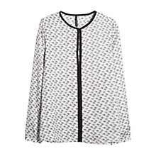 Buy Mango Fluted Hem Blouse, Natural White Online at johnlewis.com
