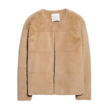 Buy Mango Faux Fur Jacket, Beige Online at johnlewis.com