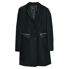 Buy Mango Side Zip Wool Blend Coat, Black Online at johnlewis.com