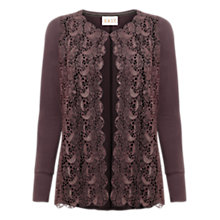 Buy East Lace Jersey Cardigan, Pewter Online at johnlewis.com