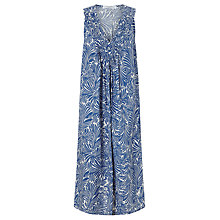 Buy John Lewis Sleeveless Linen Palm Print Pintuck Dress, Blue Online at johnlewis.com