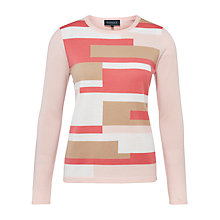 Buy Viyella Colour Block Jumper, Pink Online at johnlewis.com
