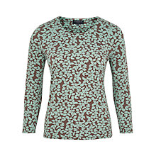 Buy Viyella Petite Leaf Print Jersey Top, Green Online at johnlewis.com