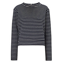 Buy Whistles Double Face Stripe Cotton Top, Navy Online at johnlewis.com