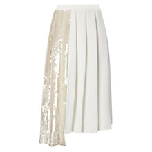 Buy Whistles Asymmetric Sequin Pleated Skirt, Ivory Online at johnlewis.com