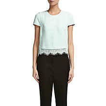 Buy Whistles Lace Trim Crop T-Shirt, Pale Green Online at johnlewis.com