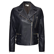 Buy Whistles Axel Bubbleskin Leather Biker Jacket, Navy Online at johnlewis.com