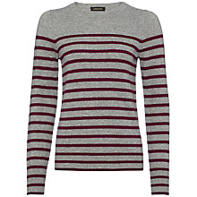 Buy Jaeger Cashmere Breton Sweater, Grey / Damson Online at johnlewis.com