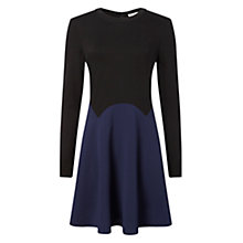 Buy Whistles Textured Crepe And Jersey Dress, Black / Multi Online at johnlewis.com