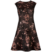 Buy Ted Baker Jacquard Dropped Waist Dress, Bright Pink Online at johnlewis.com