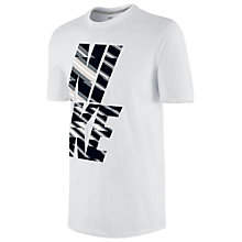 Buy Nike Flash Print Crew Neck T-Shirt, White/Black Online at johnlewis.com