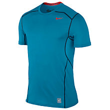 Buy Nike Pro Combat Hypercool Fitted T-Shirt, Blue/Red Online at johnlewis.com