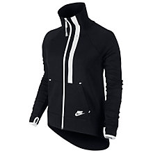 Buy Nike Women's Long Sleeve Tech  Moto Cape Fleece, Black/White Online at johnlewis.com