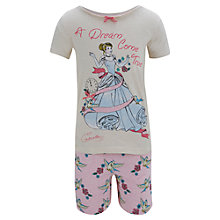 Buy Disney Cinderella A Dream Come True Shortie Pyjama Set, Grey/Pink Online at johnlewis.com