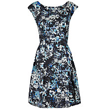 Buy Closet Floral V Back Skater Dress, Blue Online at johnlewis.com
