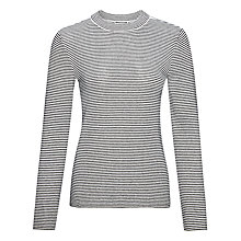 Buy Whistles Stripe Slim Jumper, Black/White Online at johnlewis.com