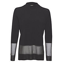 Buy Whistles Sheer Hem Turtle Neck Jumper, Black Online at johnlewis.com
