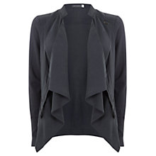 Buy Mint Velvet Zip Cowl Biker Knit Cardigan, Steel Online at johnlewis.com