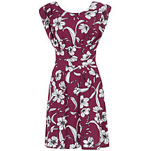 Buy Closet Floral Tie Back Dress, Burgundy Online at johnlewis.com