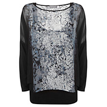Buy Mint Velvet Jodie Print Double Layer Top, Black Online at johnlewis.com