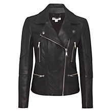 Buy Whistles Jett Leather Biker Jacket, Black Online at johnlewis.com