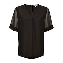 Buy Whistles V-Neck Trim T-Shirt, Black Online at johnlewis.com