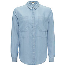 Buy Whistles Romy Longline Pocket Shirt, Pale Blue Online at johnlewis.com