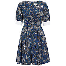 Buy Closet Contrast Cuff Floral Print Dress, Blue Online at johnlewis.com