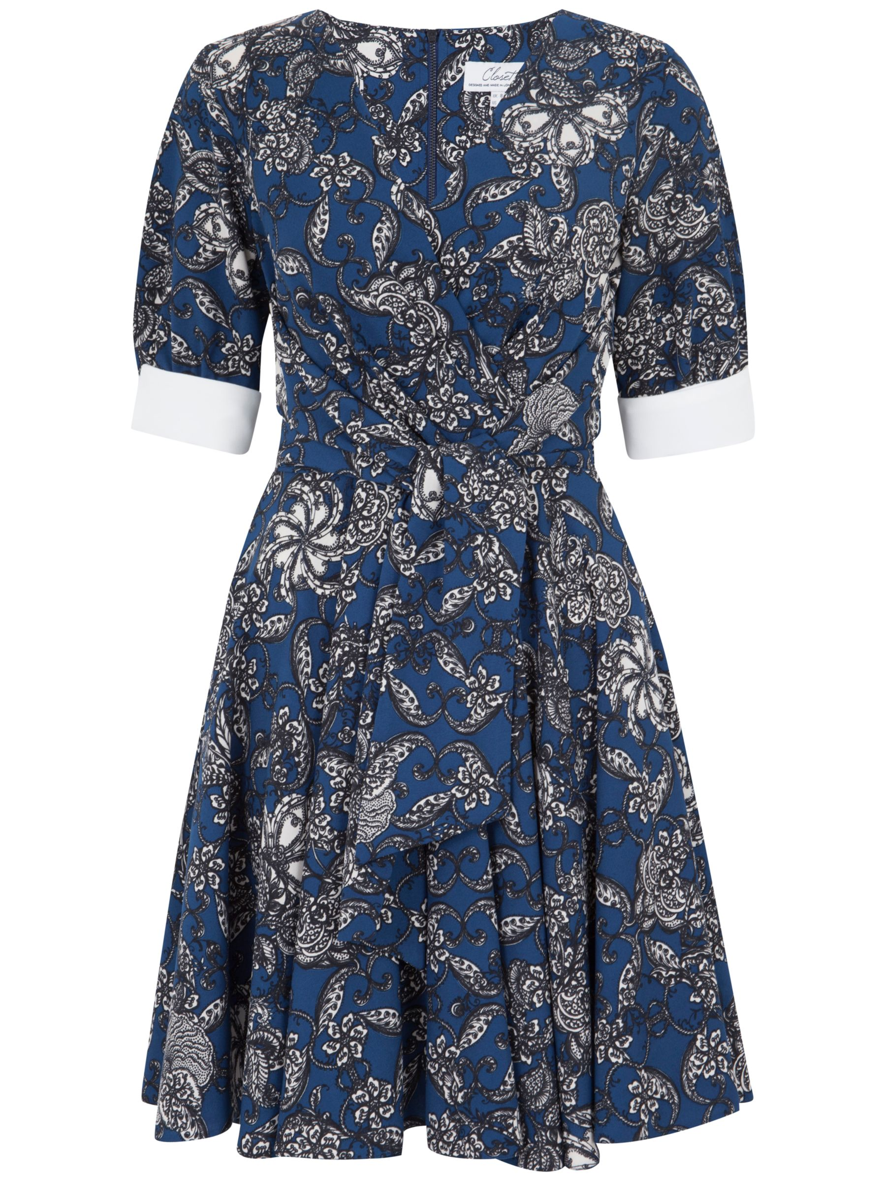 closet contrast cuff floral print dress blue, closet, contrast, cuff, floral, print, dress, blue, 14|12|8|10, clearance, womenswear offers, womens dresses offers, women, inactive womenswear, new reductions, womens dresses, special offers, 1781328