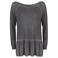 Buy Mint Velvet Overdye Peplum Knit Top, Steel Grey Online at johnlewis.com