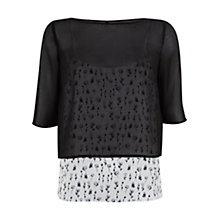 Buy Mint Velvet Petal Print Layer Top, Black/White Online at johnlewis.com