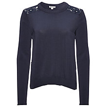 Buy Whistles Lace Back Jumper, Navy Online at johnlewis.com